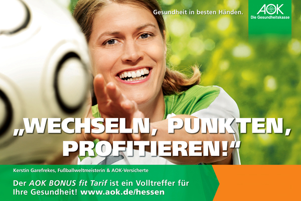 Kerstin Garefrekes, 18/1 Plakat AOK © Sven Jacobsen